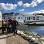 Whitewashed Laphroaig Distillery on seasfront