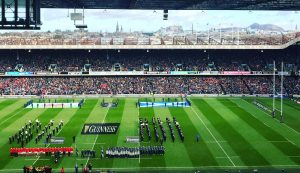 view of Murrayfield rugby pitch from the seating area